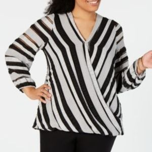Alfani Striped V Neck Surplice Blouse